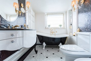 Exclusive black and white bathroom in luxury mansion